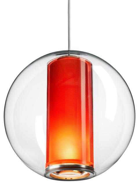 Bel Occhio Pendant, Orange Cylinder modern-pendant-lighting