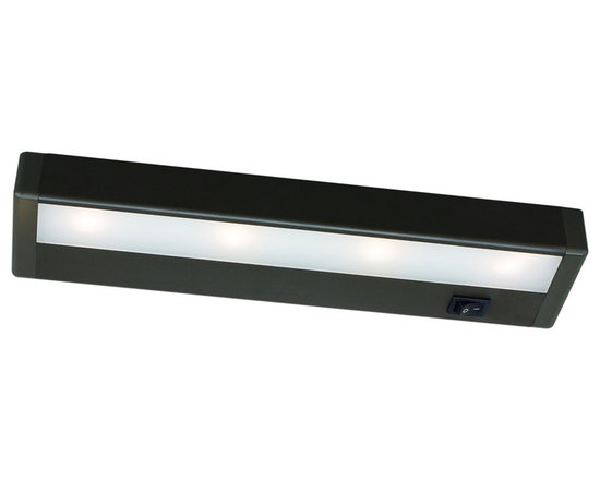 """WAC - WAC Bronze LED 12"""" Wide Under Cabinet Light Bar - Bring out the best in your decor with this versatile LED light bar from WAC. Perfect for cabinets curios and kitchen counters this fixture contains energy efficient LED bulbs with a life of up to 50000 hours. It is also thermally efficient allowing use with heat and UV-sensitive artwork clothing and decor items. Bronze finish. Includes four LEDs. Output of 254 lumens. Energy efficient. 12"""" wide. 1 """" high. 2 3/4"""" deep.  LED under cabinet light bar.  Bronze finish.  Aluminum construction.  Acrylic lens.  Energy efficient.  Interconnection accessories available.  Dimmable with low voltage dimmer to 10%.  Includes four LEDs (6.2 watts total).   Light output 254 lumens.  Comparable to a 30 watt incandescent bulb.  2900K color temperature.  12"""" wide.  2 3/4"""" deep.  1"""" high.  1"""" inner connector and mounting hardware included."""