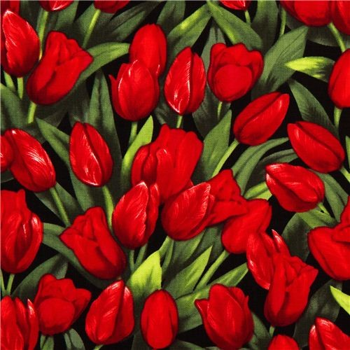 Robert Kaufman flower fabric with red tulips from the USA fabric