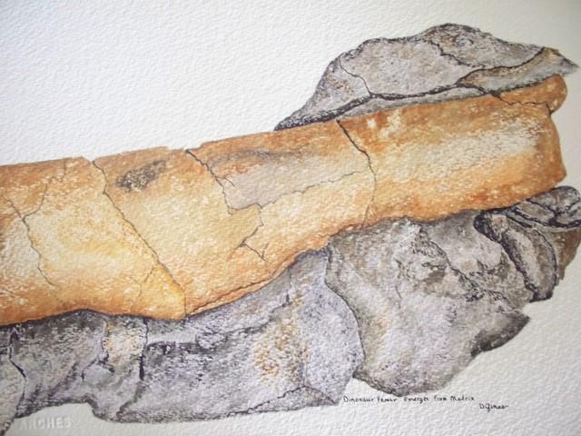 Dinosaur Femur Emerges From Matrix, Original, Painting contemporary-paintings