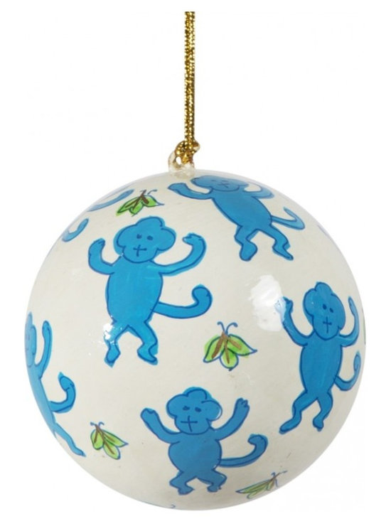 Hand-Painted Ball Ornament, Monkey, Blue -