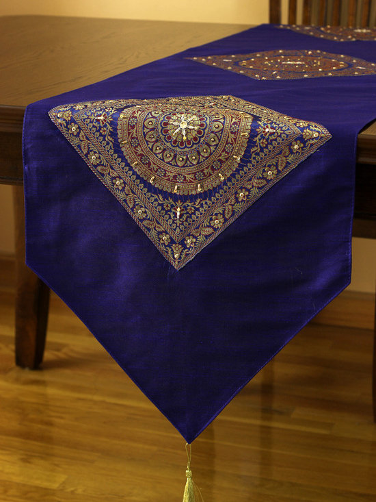 """Elegant Table Runners - Unique """"Oriental Harmony"""" table runner. King Blue color. Decorative Indian hand crafted design."""
