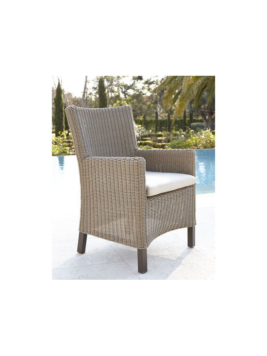 "Horchow - Alyssa Wicker Armchair with Cushion - Outdoor living and entertaining takes on new flair with this all-weather armchair. Made of resin wicker handwoven over aluminum frame. Hand-painted, powder-coat finish. Sunbrella® fabric-covered cushion> Resin block feet. Supports up to 250 lbs. Outdoor safe. 24""W x 26""D x 37""T. Imported"
