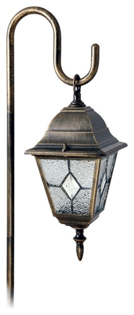 Traditional Tiffany Style Shepherd Hook Diamond Glass Landscape Light traditional-outdoor-lighting