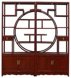 Chinese Oriental Rosewood Room Divider Display Cabinet - Asian - Bookcases - by Golden Lotus ...