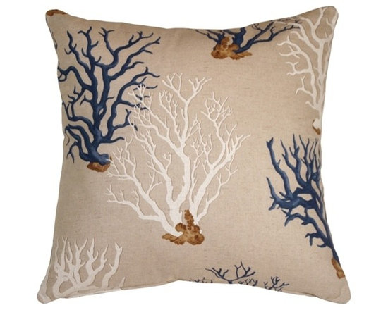 Pillow Decor - Pillow Decor - Blue Coral 21 x 21 Decorative Pillow - Sea horses drift among blue and white coral formations on this classic aquatic theme throw pillow. The fabric is a machine washable, soft cotton blend in a natural sandy beige color. The effect is as striking and peaceful as a the still waters of a sunny tropical reef.