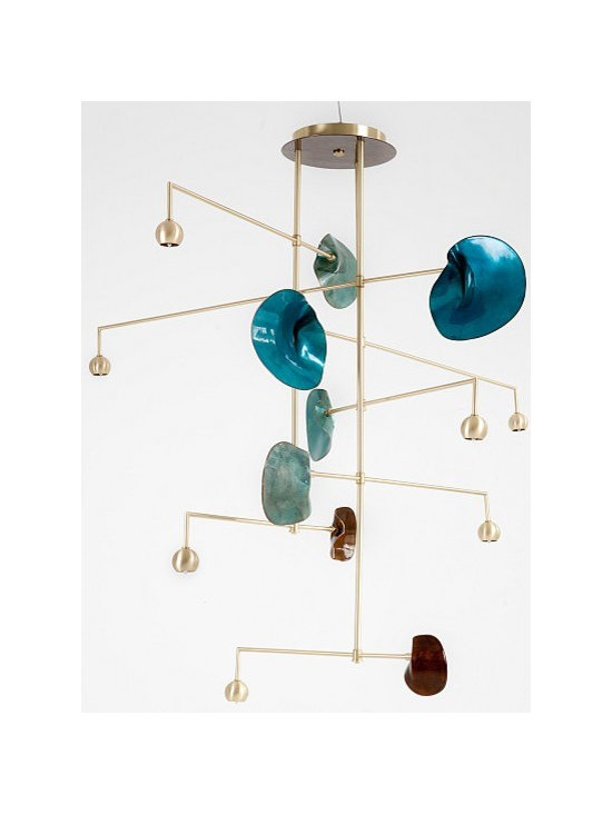 Exclusive - Derrick Chandelier by Kiln Design Studio - We're honored to have collaborated with Kiln Design Studio on their first foray into lighting. The stunning colors of the vitreous enamel are luminous, while the organic form of the Lily Pads are striking against the minimalist hardware. Bespoke possibilities are endless.