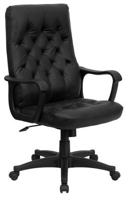 Flash Furniture High Back Traditional Executive Swivel Office Chair - Black Leat traditional-task-chairs