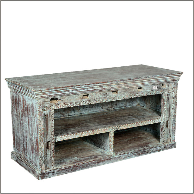 Hand Carved Rustic Wood Display TV Stand Media Console ...