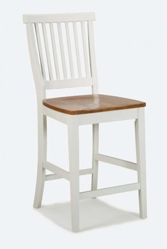 Kitchen Stool with Oak Seat in White Modern Bar Stools