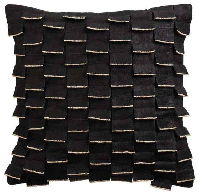 black flap pillow with beads traditional-decorative-pillows