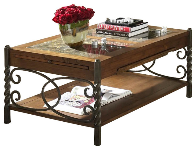 Riverside Medley Cocktail Table with Pull outs in Wildwood Taupe transitional-coffee-tables