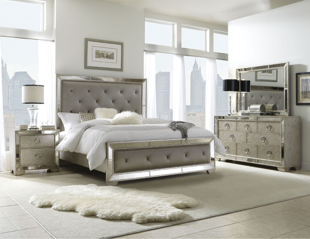 Celine 6 piece mirrored and upholstered tufted king size bedroom set contemporary bedroom for 6 piece king size bedroom sets