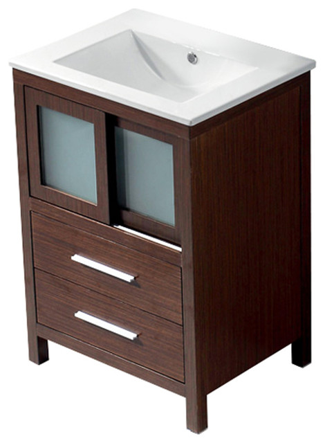 VIGO 24-inch Alessandro Single Bathroom Vanity, Wenge, Without Extras modern-bathroom-vanities-and-sink-consoles