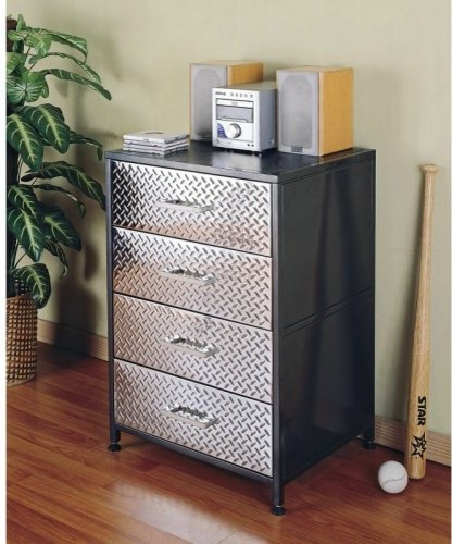 Reduce clutter in your child's room with the sturdy Monster Bedroom 4 Drawer Che eclectic-dressers-chests-and-bedroom-armoires