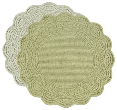 Marseille Quilted Round Placemats Set Of 4 Traditional