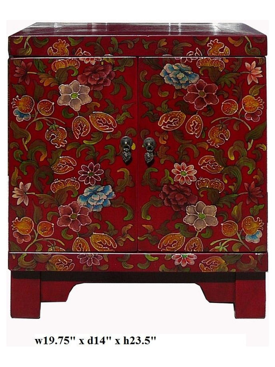 Chinese Red Lacquer Color Flowers End Table -