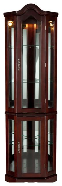Riley Lighted Corner Curio Cabinet, Mahogany traditional-storage-units ...