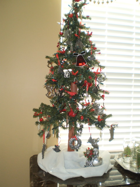 Christmas Tree With Pewter Ornaments Traditional