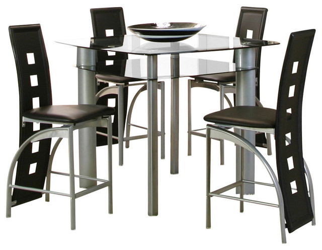 Counter Height Glass Dining Table Set : ... Round Double Glass Counter Height Table Set contemporary-dining-sets