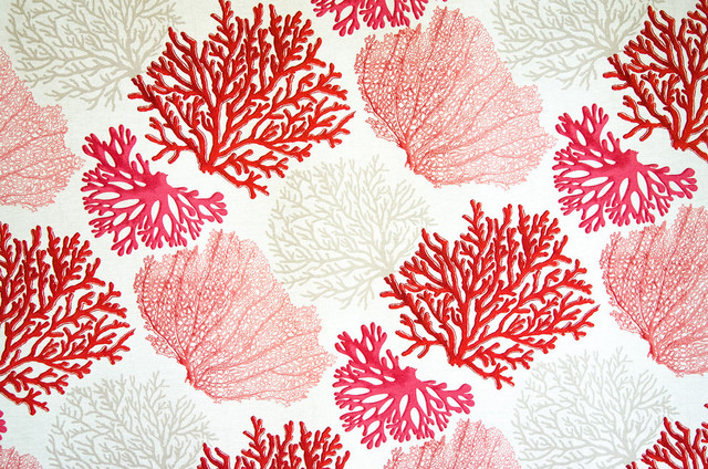 Red Coral Fabric Pink Salmon Orange Ocean Beach Style Fabric By Brick House Fabrics
