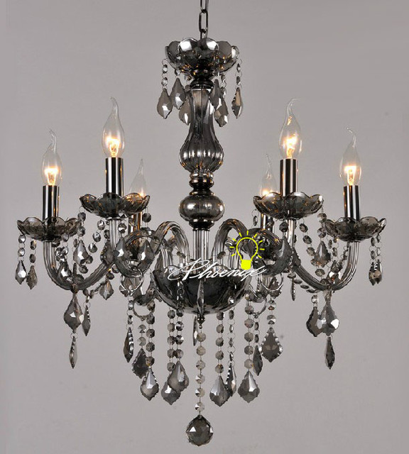 Crystal Chandelier In Smoke Contemporary Chandeliers New York