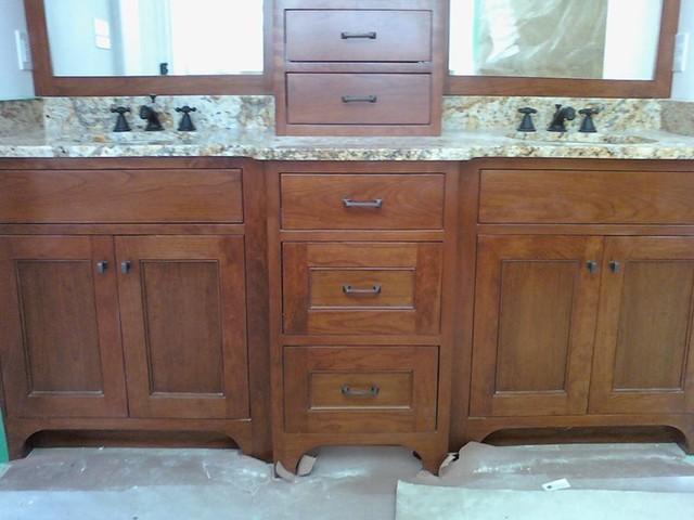 Cherry vanity with center cabinet ii traditional for Bathroom vanities massachusetts