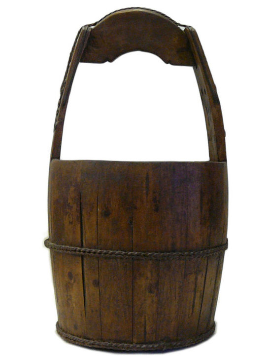 """Golden Lotus - Vintage Reproduction Chinese Rustic Round Wood Handle Bucket - Dimensions:   Dia 10""""x  h19.5"""""""