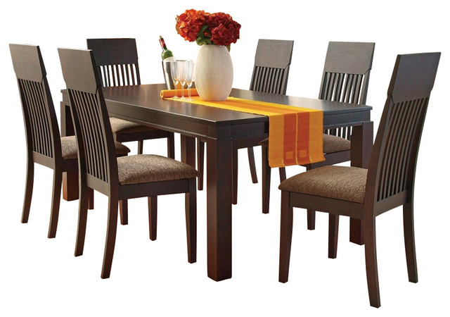 7 Pc Medora Espresso Finish Wood Dining Table Set With Fabric Upholstered Seats Contemporary