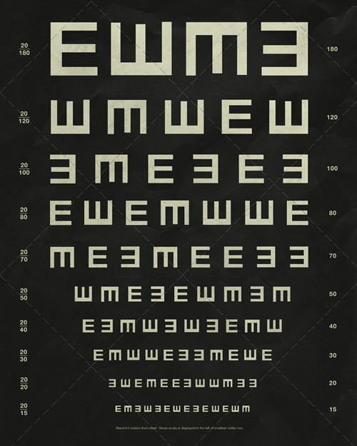Herman Snellen Tumbling E's Vintage Eye Chart By Ship Shop eclectic-artwork