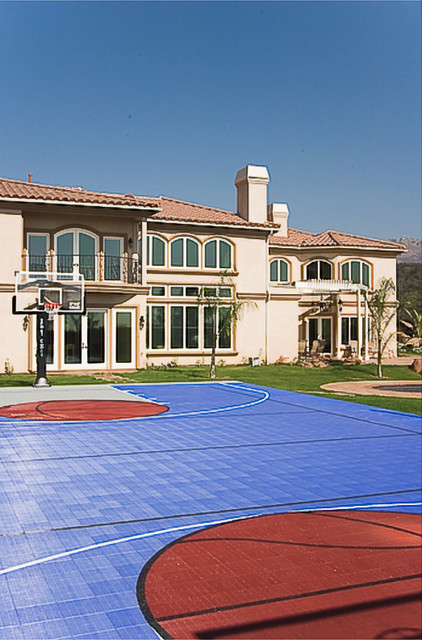 Custom Home and a Sports' Court mediterranean-exterior