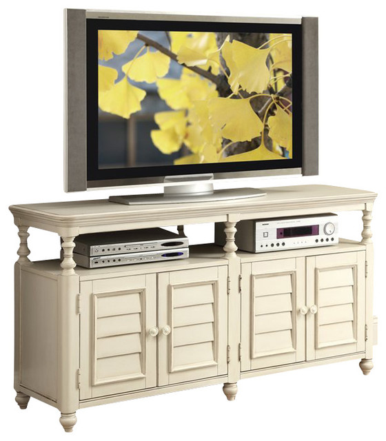 Riverside Furniture Placid Cove Louver TV Console in Honeysuckle White - Beach Style - Media ...