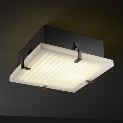 Justice Design Group Porcelina PNA-5557-WFAL-DBRZ Clips 16 in. Square Flush-moun modern-bathroom-lighting-and-vanity-lighting