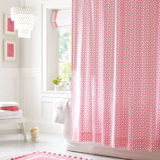Petal Dot Shower Curtain, Bright Pink - contemporary - shower