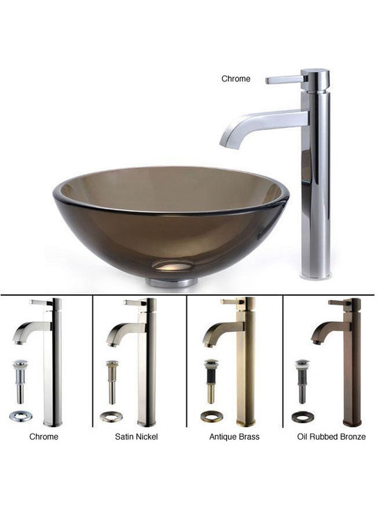 """Kraus - Kraus C-GV-103-14-12mm-1007CH Clear Brown 14"""" Glass Vessel Sink and Ramus Faucet - Add a touch of elegance to your bathroom with a glass sink combo from Kraus"""