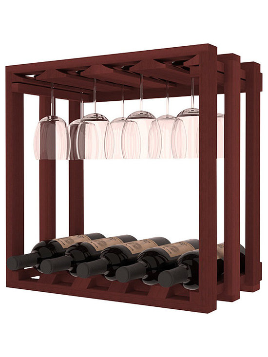 Wine Storage Lattice Stemware Cube in Redwood with Cherry Stain - Designed to stack one on top of the other for space-saving wine storage our stacking cubes are ideal for an expanding collection. Use as a stand alone rack in your kitchen or living space or pair with the 20 Bottle X-Cube Wine Rack and/or the 16-Bottle Cubicle Rack for flexible storage.