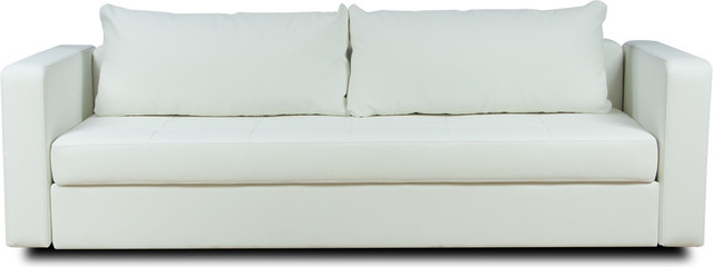 Eperny White Faux Leather Futon Modern Futons