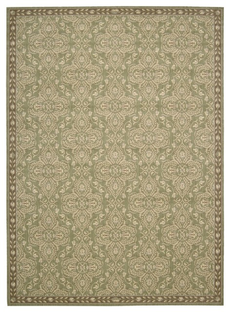 "Transitional Riviera 2'x2'9"" Rectangle Green Area Rug transitional-rugs"