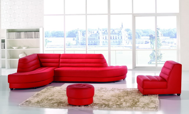 4pc Modern Red Leather Sectional Couch Sofa Set Chaise