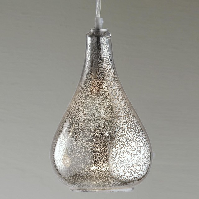 glass bulb pendant clear crackled or mercury glass