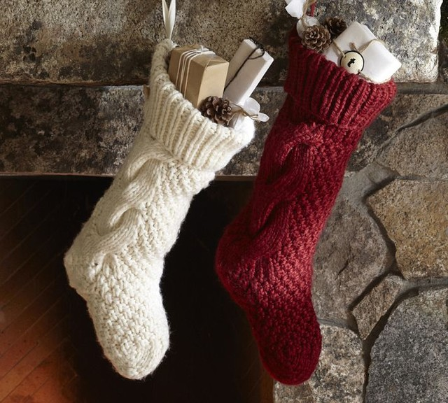 Chunky Knit Stocking - Traditional - Christmas Stockings And Holders - by Pot...
