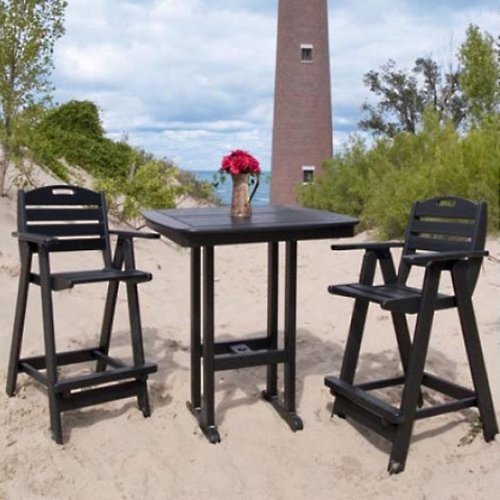 Polywood Recycled Plastic Nautical High Patio Dining Set Contemporary Patio Furniture And