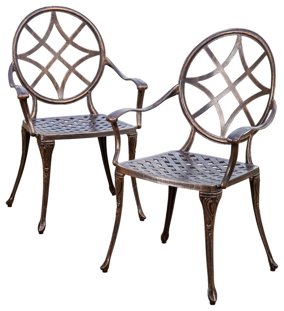 Norcross Outdoor Cast Aluminum Dining Chair (Set of 2) contemporary-outdoor-lounge-chairs