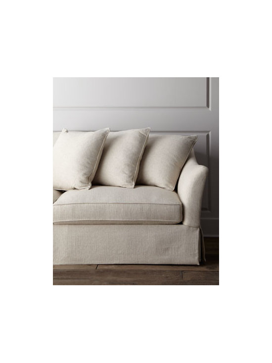 Horchow - Fallon Sofa - Modern design is complemented by full cushioned pillows for sleek style that doesn't sacrifice comfort. A dressmaker skirt adds a nice finishing touch. Laminated hardwood and hardwood frame. Rayon/polyester/linen upholstery. Blendown seat cushions. ....