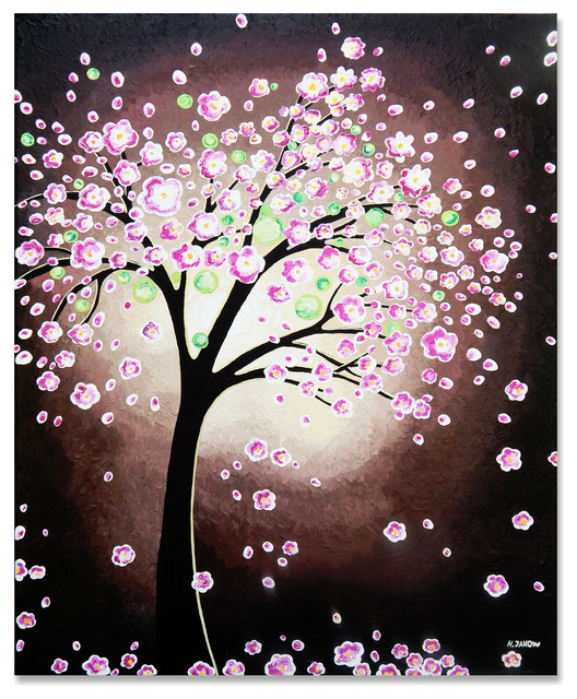 Pink Cherry Blossom Tree of Life Original Acrylic Painting ...