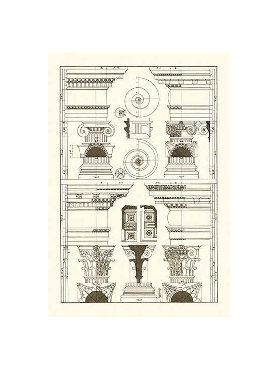 """Buyenlarge.com, Inc. - Pediments of the Renaissance - Framed Paper Poster 20"""" x 30"""" - Architectural Drawings of Renaissance Architecture"""