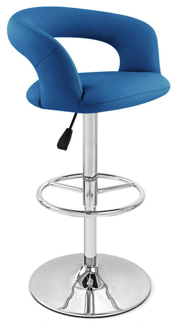 Blue Monza Swivel Armless Bar Stool Contemporary Bar
