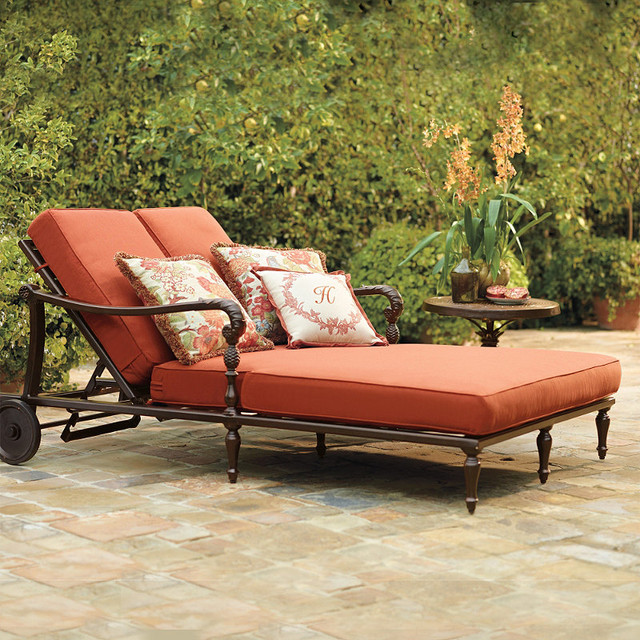 British Colonial Double Outdoor Chaise Lounge with Cushions, Patio ...