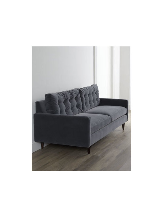 Horchow - Vanessa Sofa - Relaxed, comfortable, contemporary—this sofa gets a touch of sophistication with tufting on the back. Frame made of select hardwoods and engineered hardwood. Polyester upholstery. Feather/down-blend seat cushions. Sinuous springs. Mortise-and-...