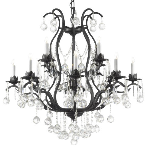 Wrought Iron Crystal chandelier Lighting dressed with Crystalalls traditional-chandeliers
